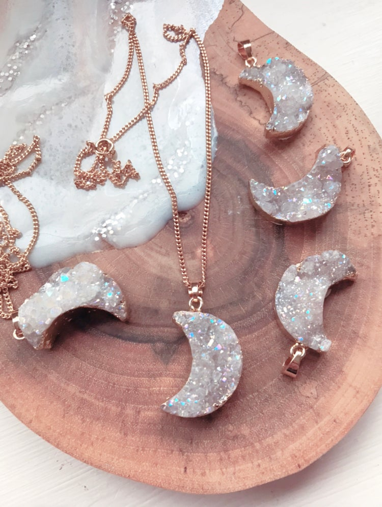 Image of Angel Aura Crescent Moon Pendant