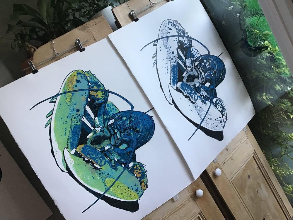 Lobster linocut print - three colour edition