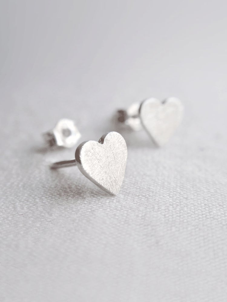 Image of Little Heart Earrings · Silver