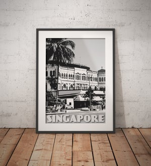 Image of Vintage Poster Singapore - Raffles Hotel Black & White - Fine Art Print
