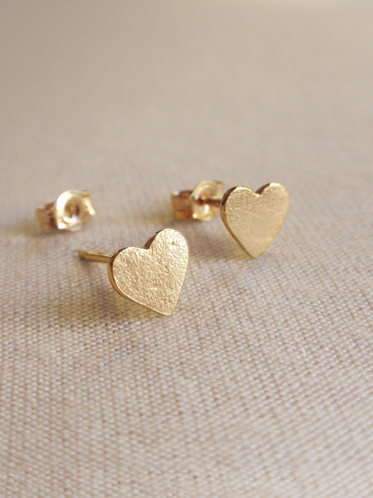 Image of Little Heart Earrings - Golden