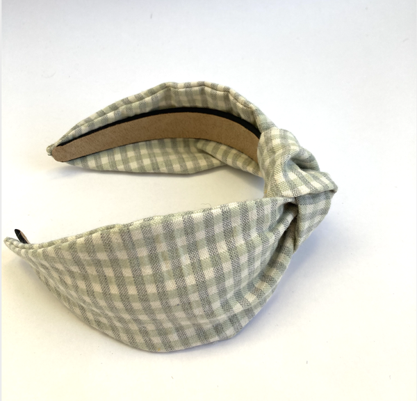 Image of Apple Green Gingham - Knot Headband