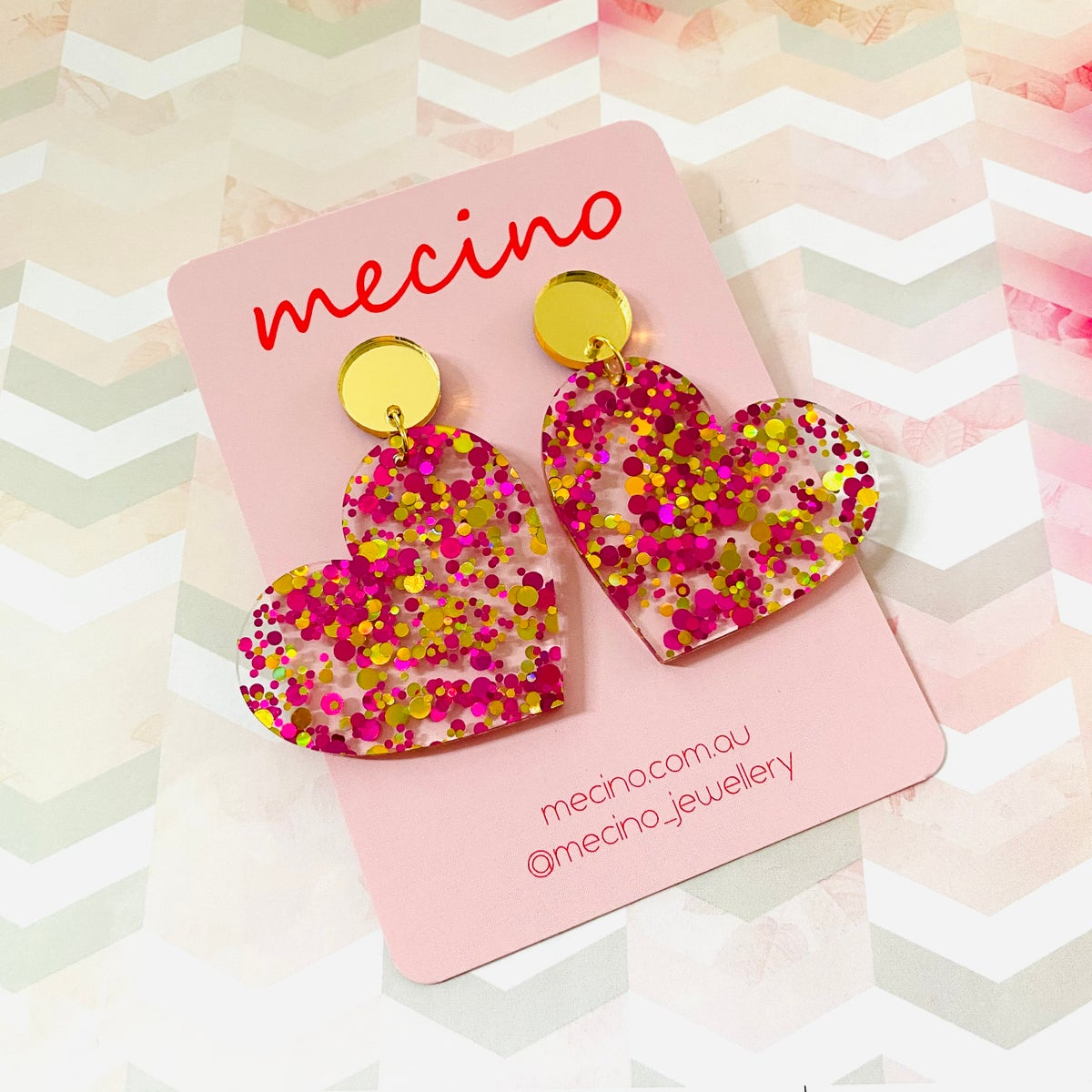 Image of Sweet Hearts - Oversized - Confetti Pink / Gold