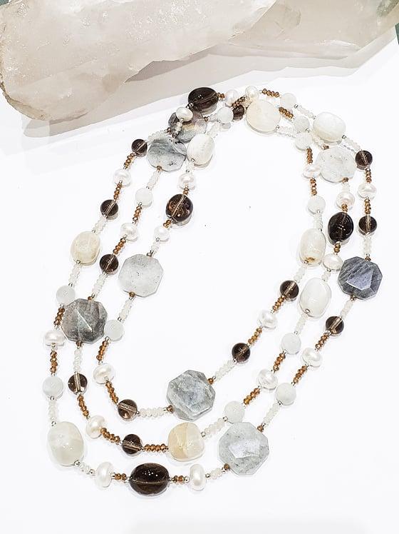 Image of Labradorite, Smoky Quartz, Moonstone, Pearl and Crystal Necklace
