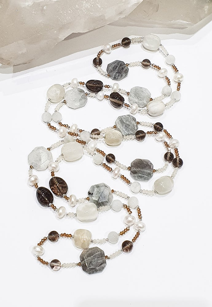 Image of Labradorite, Smoky Quartz, Moonstone, Pearl and Crystal Necklace