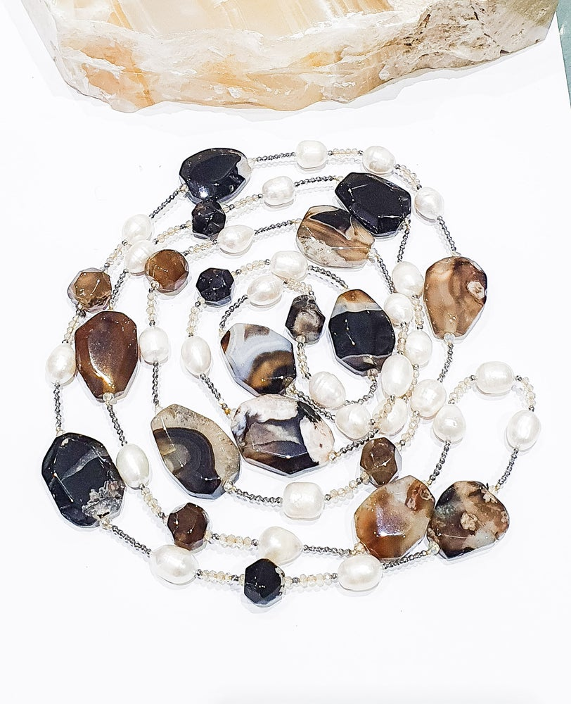 Image of Agate Slices, Pearl and Crystal Necklace