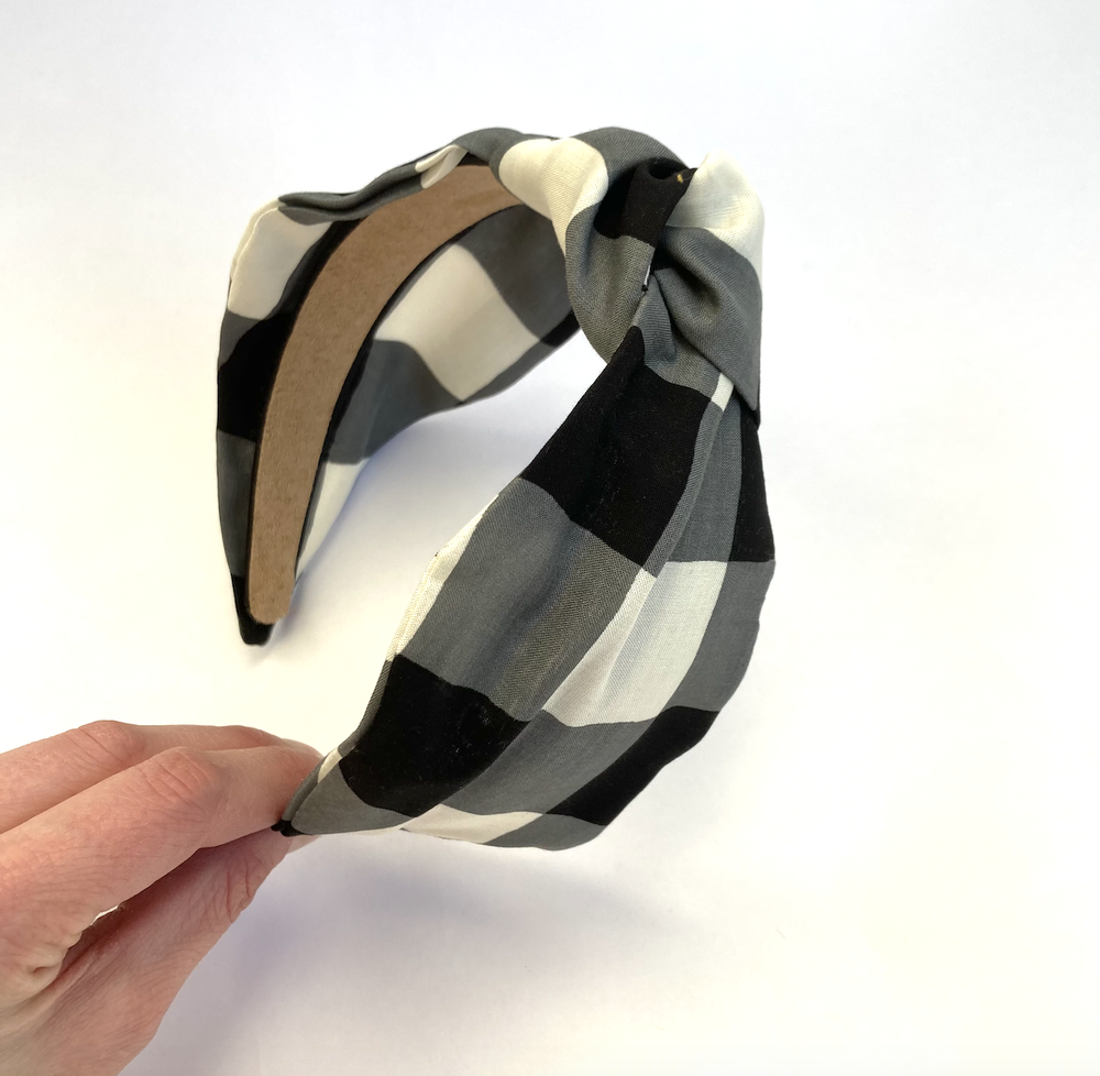 Image of Black & White Check - Knot headband