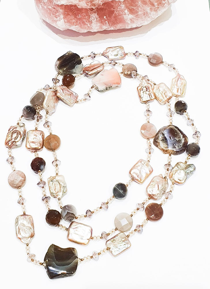 Image of Agate, Pink Pearls, Moonstone and Crystal Necklace