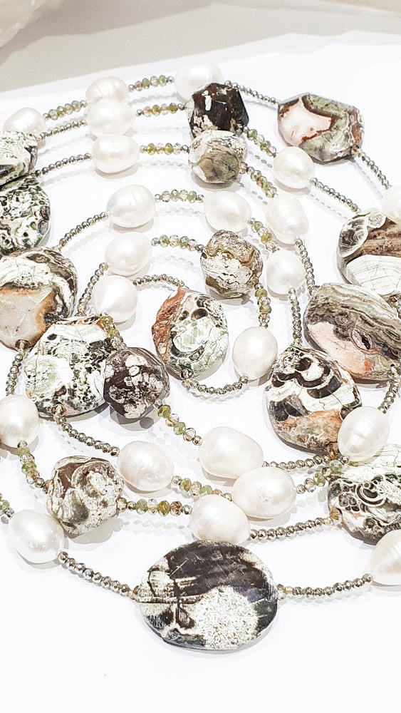 Image of Jasper, Pearl and Crystal Necklace