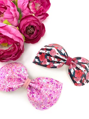Image of VDay Floral Stripe Bailey Bow