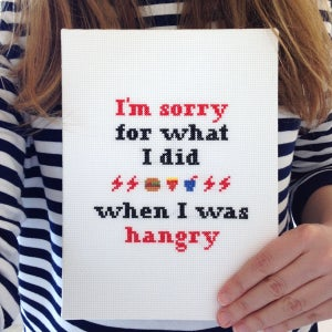 Image of I'm Sorry For What I Did When I Was Hangry cross-stitch pattern