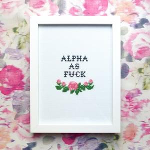 Image of Alpha As Fuck cross-stitch pattern