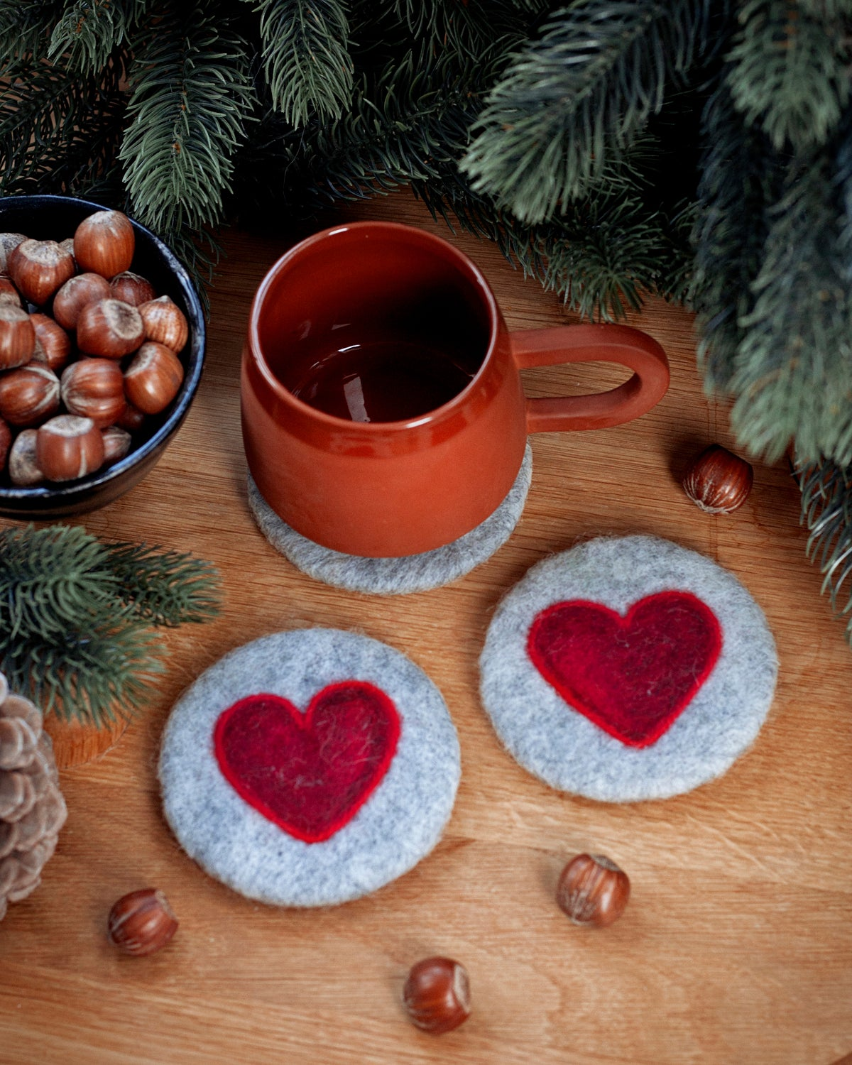 Image of WOOL COASTER SET of 2 - Hearts