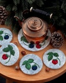 Image of COASTER & TRIVET SET - Raspberries and blackberries