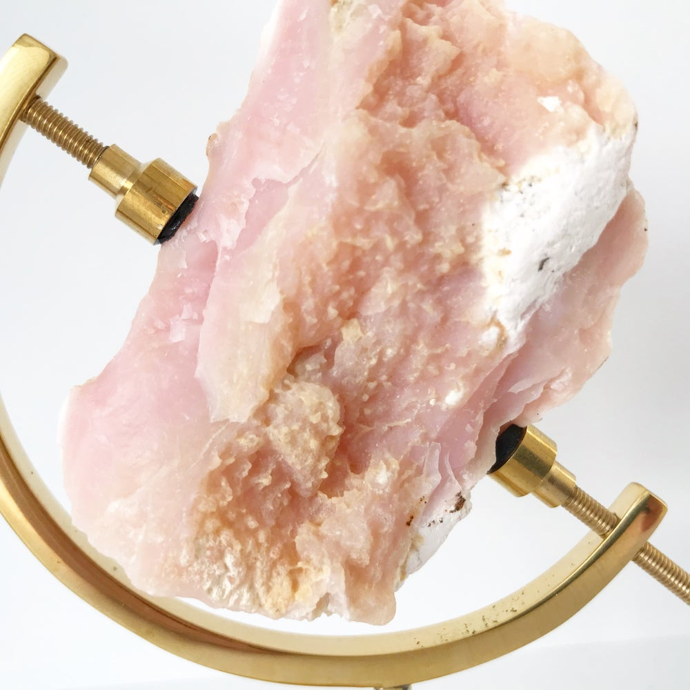 Image of Pink Opal no.03 + Brass Arc Stand