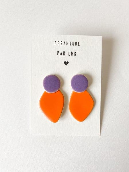 Image of Paire de boucles d'oreilles céramique COLLA mandarine mat et violet