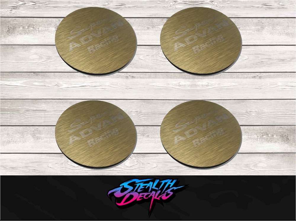"""Image of 4x Super Advan Sa3r Wheel Centre caps coins in brushed gold to fit 15"""", 16"""" and 17"""""""