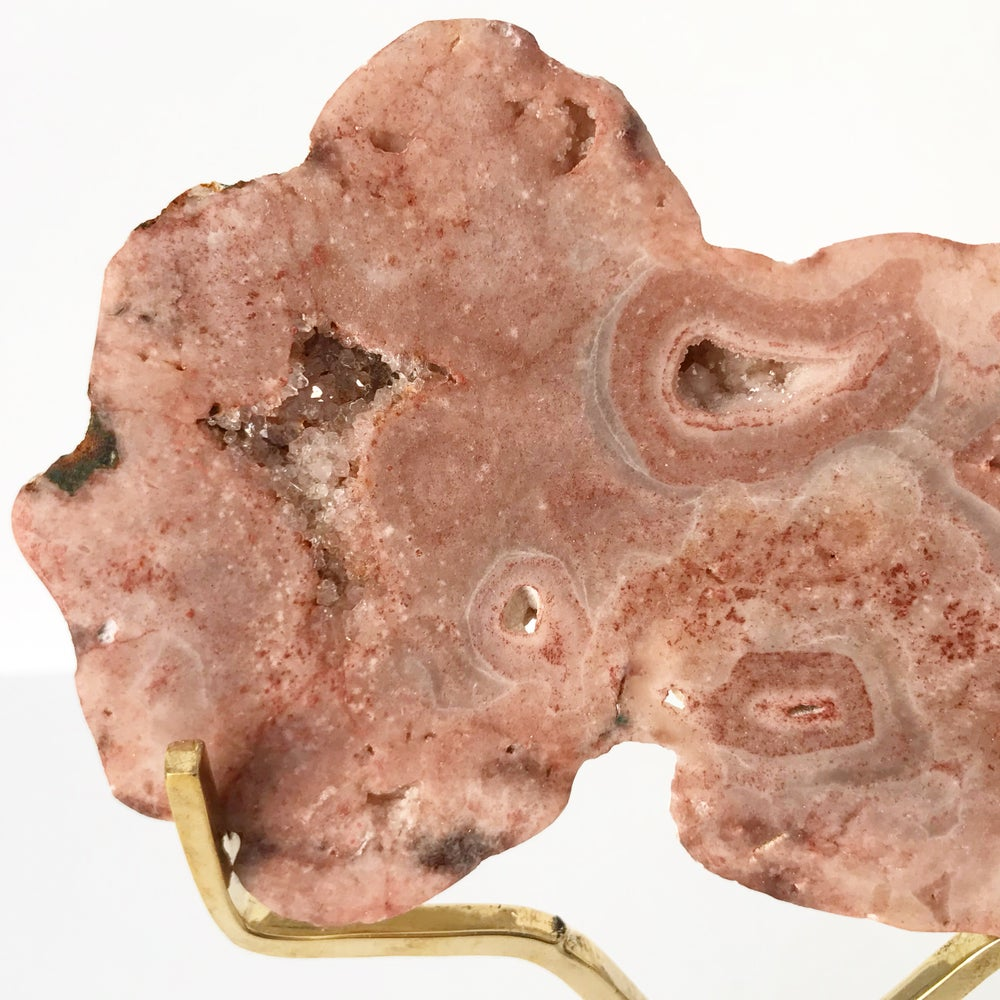 Image of Pink Amethyst no.60 + Brass Easel Post Stand