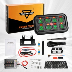Image of Auxbeam 8 Gang Control Switch Panel Kit Automatic Dimmable Slim Touch (Green Backlight)
