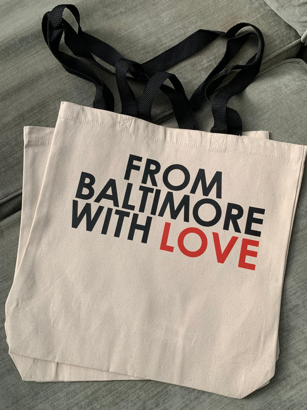 Image of From Baltimore With Love Tan/Natural Tote Bag