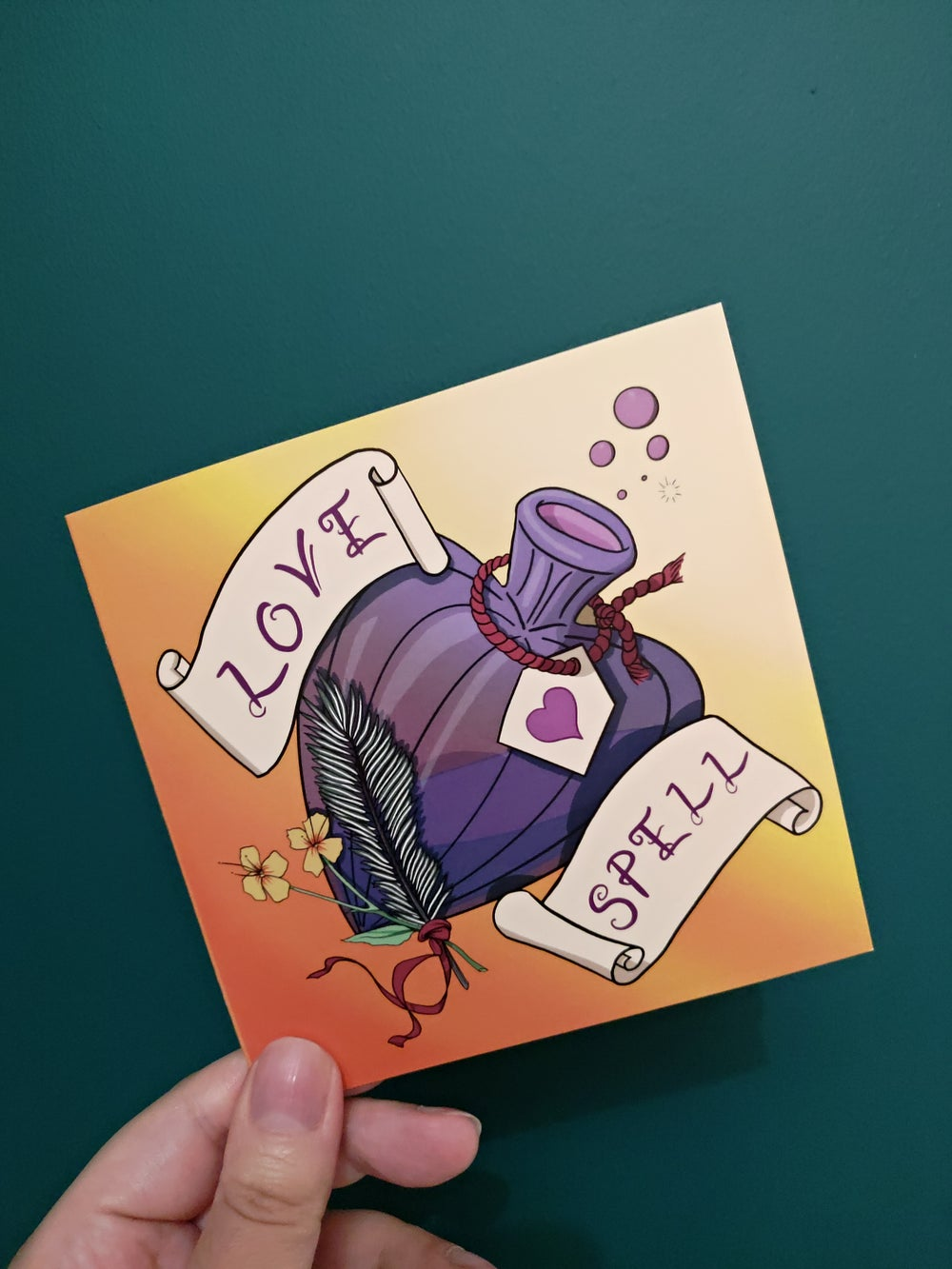 LOVE SPELL (Gold and Lilac) Valentine's Card