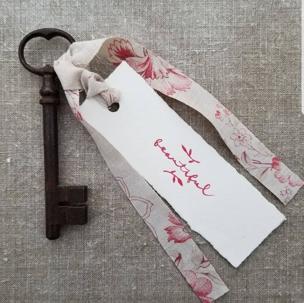 Image of Antique French Key & Label - Red