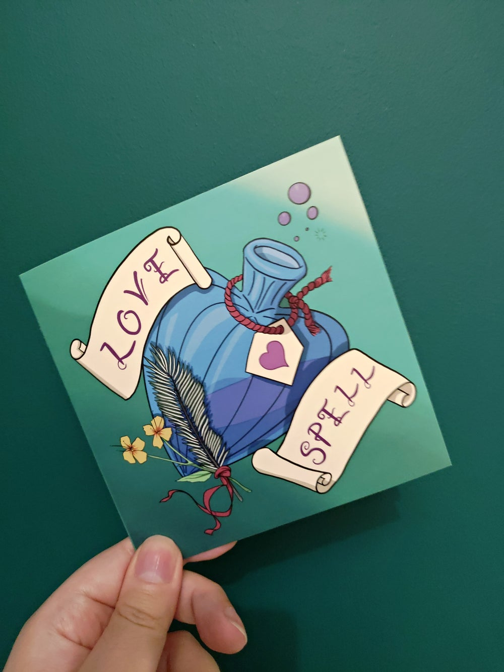 LOVE SPELL (Green and Blue) Valentine's Card