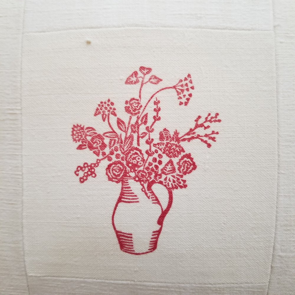 Image of Single - Block printed Jug of Flowers on Antique Linen - Red