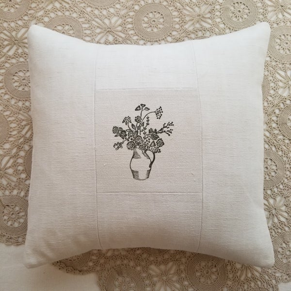 Image of Block printed Jug of Flowers on Antique Linen - Grey