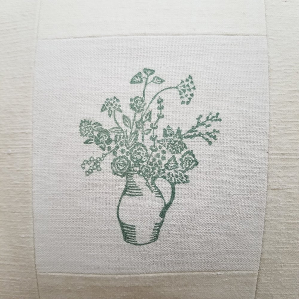Image of Block printed Jug of Flowers on Antique Linen - Green