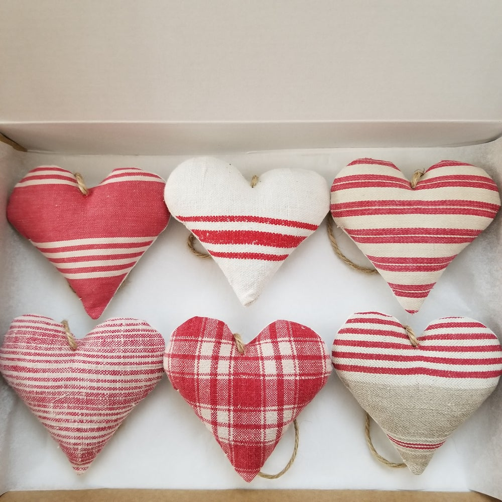 Image of Set of Six Ticking Hearts - Red