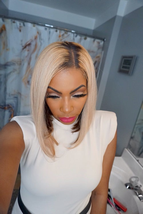Image of SUMMER FROST Ash blonde BOB wig with DARK ROOTS & chocolate peekaboo HIGHLIGHTS