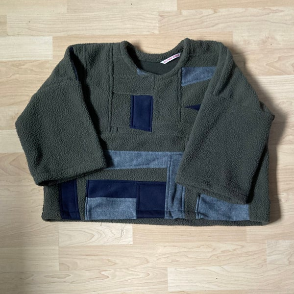 Image of Drop-Shoulder Patchwork Sherpa Sweatshirt