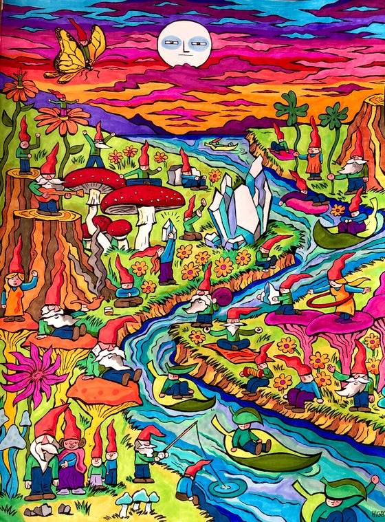 Image of Gnome World PRINT 17x22
