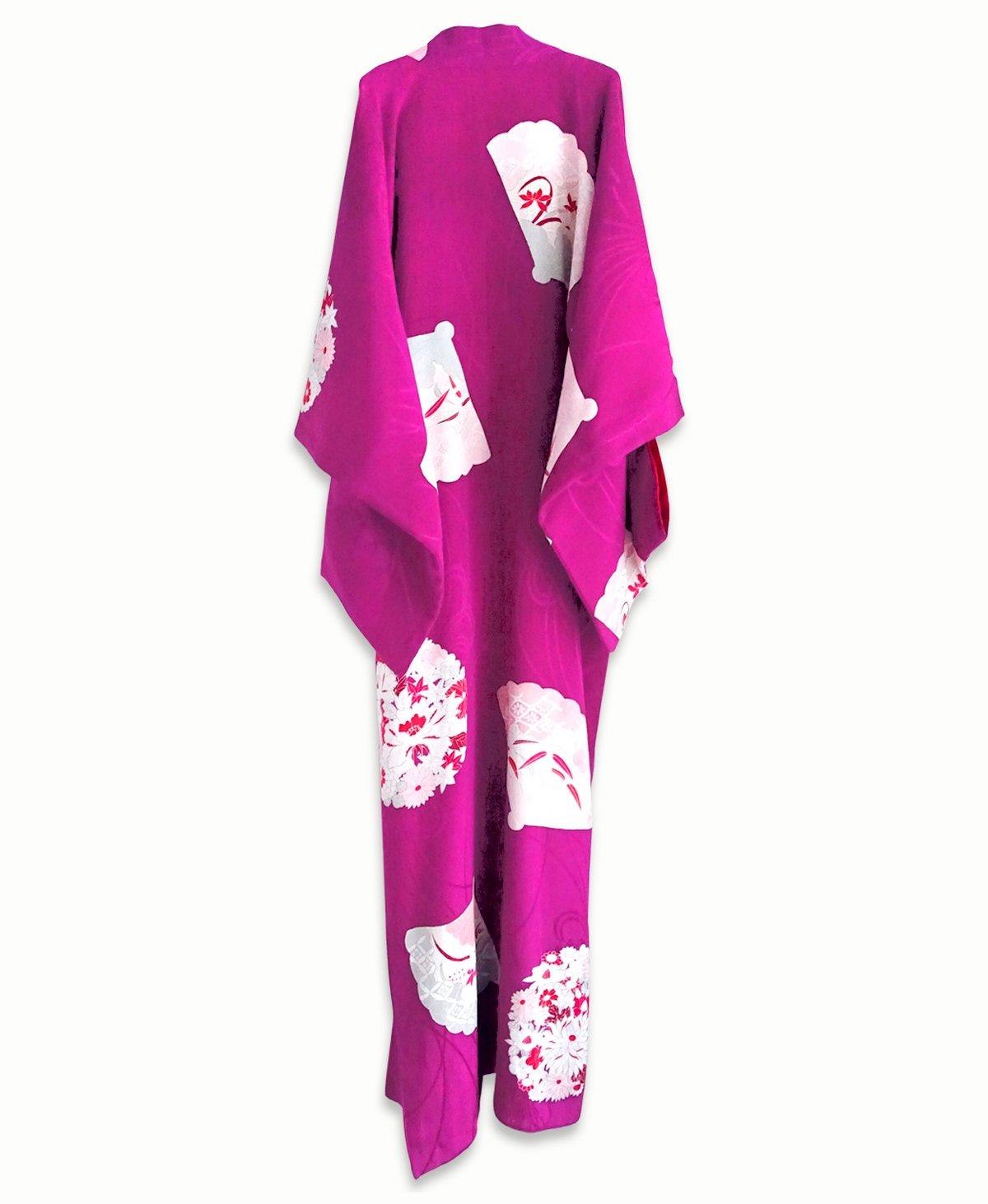 Image of Silkekimono - lillapink med blomster-rosetter