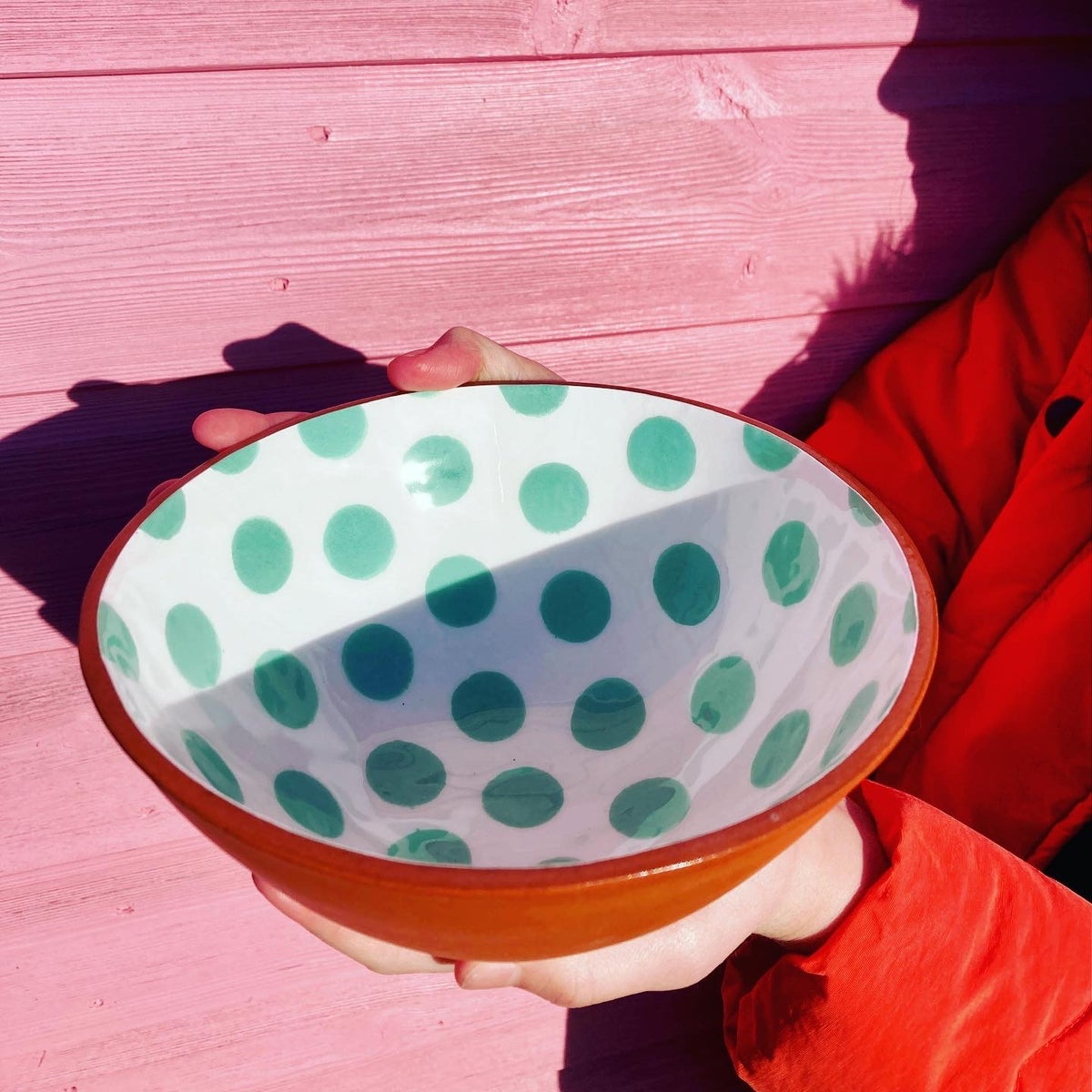 Cereal Bowl White/Green Spot