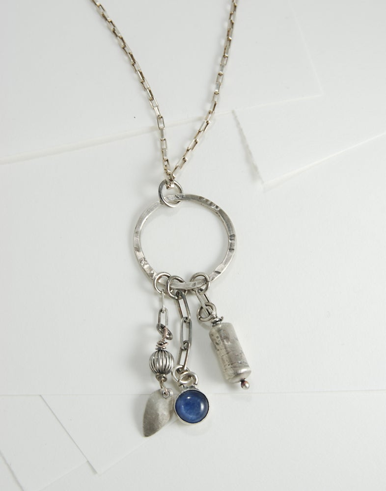 Image of Kyanite, Handmade Barrel Bead, Sterling Silver Dangly Necklace