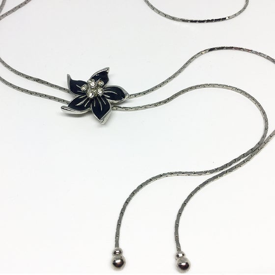 Image of Vintage Black Flower Slider Necklace