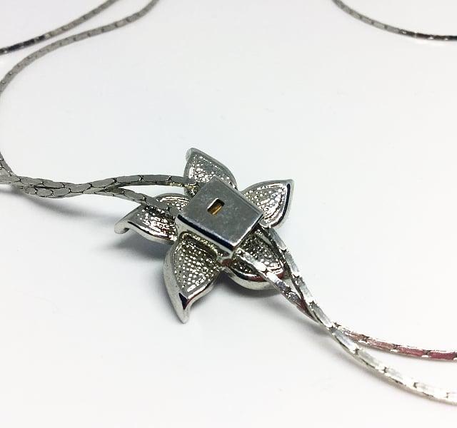 Image of Vintage Black Flower Slider Necklace