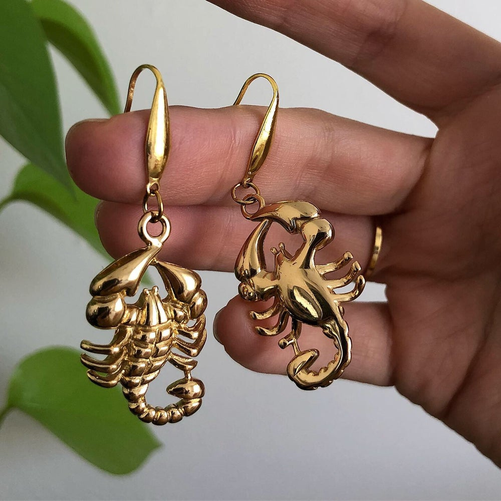 Image of GOLD SCORPION EARRINGS