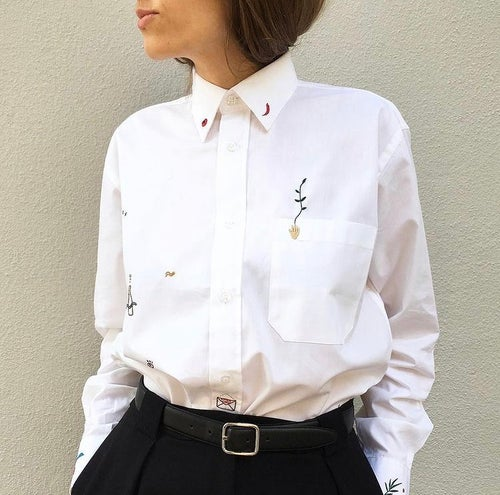 Image of Reserved for Ksenia - hand embroidered 100% cotton shirt, size Small, unisex design