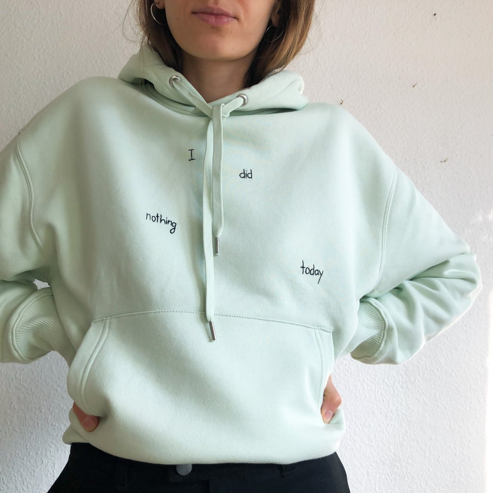 Image of Lockdown vibes - hand embroidered organic cotton hoodie, Unisex, available in ALL sizes