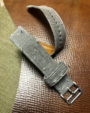 Image of Hand-rolled SP strap - Sanded light grey canvas