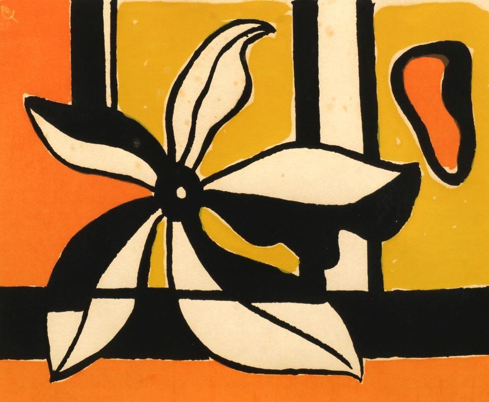 Image of fernand leger / fleur sur un fond jaune et orange / 23/720
