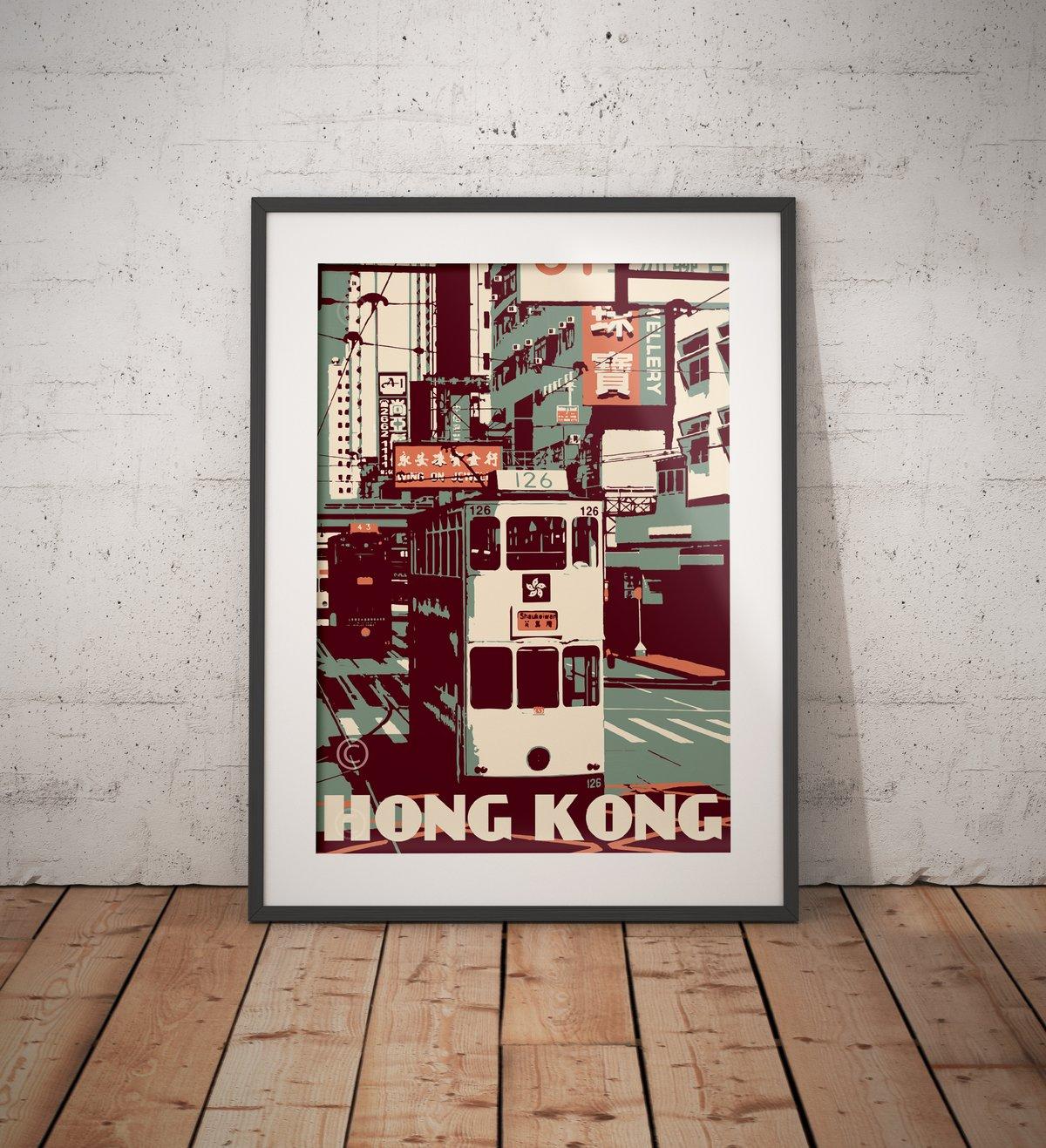 Image of Hong Kong - Tramway - Ding Ding - Green - Fine Art Print