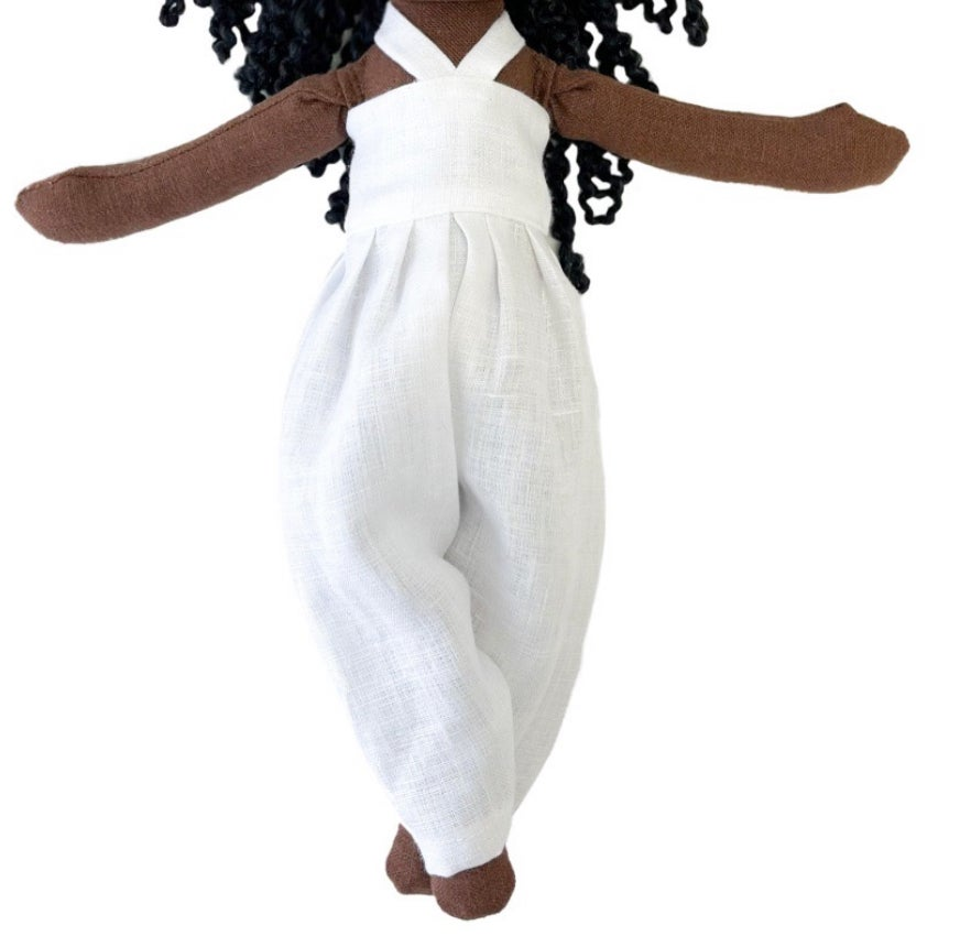 White Linen Jumper - Doll Accessory (SHIP DATE: ON OR BEFORE APRIL 15TH)