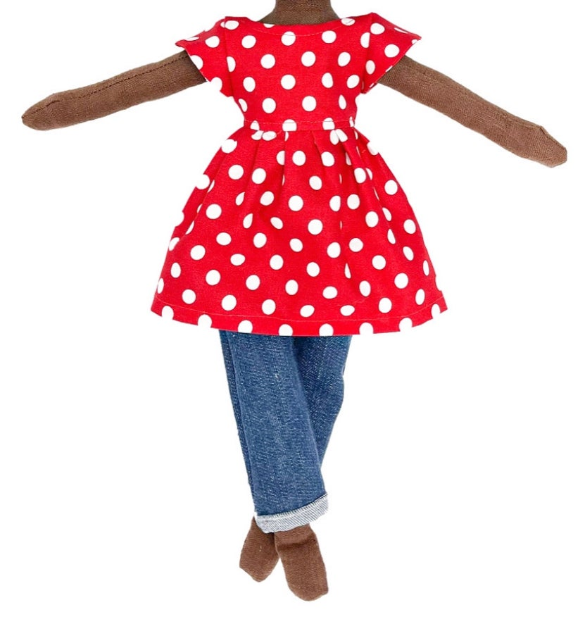 2pc Polka Dot Dress with Denim Pant (SHIP DATE: ON OR BEFORE JULY 1ST)