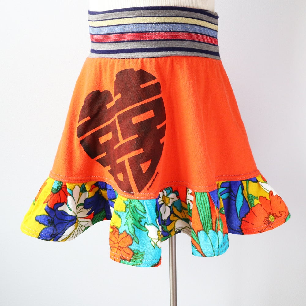 Image of double happiness neon orange vintage fabric 8 floral print bright flouncy skirt courtneycourtney