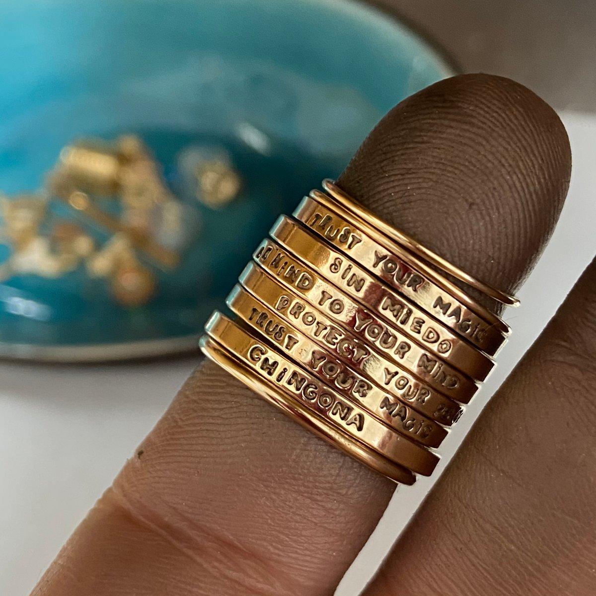 Image of adjustable 14k gold custom ring