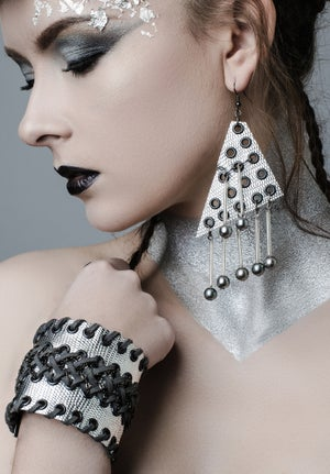 Image of large Triangle & pearl droplet earrings